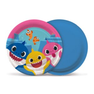 Prato Festa Baby Shark 18cm - 8 unidades - Cromus - Rizzo Festas