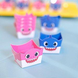 Forminha para doces Cachepot Festa Baby Shark Azul e Rosa - 24 Unidades - Cromus - Rizzo Festas
