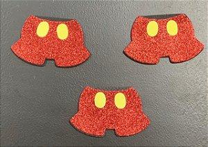 Aplique de EVA Mouse Bermuda Glitter 7,5cm - 06 Unidades - Make Festas Rizzo Festas