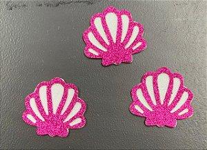 Aplique de EVA Concha Pink P Glitter 6,5cm - 06 Unidades - Make Festas Rizzo Festas