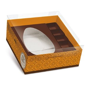 Caixa Practice para Meio Ovo M 350g com Bombons Chocolatier Laranja 06 unidades - Cromus Páscoa - Rizzo Embalagens