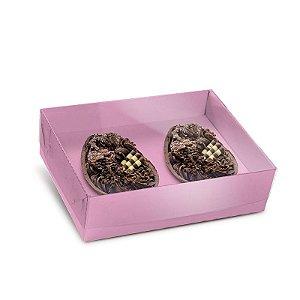 Caixa New Practice Com Colher para Dois Meio Ovo Mini 50g Blush 06 unidades - Cromus Páscoa - Rizzo Embalagens