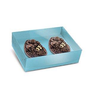 Caixa New Practice Com Colher para Dois Meio Ovo Mini 50g Jade 06 unidades - Cromus Páscoa - Rizzo Embalagens