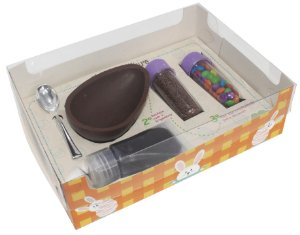 Caixa Kit Confeiteiro Xadrez Laranja Cód 1478 - Meio Ovo de 150g  - 10 unidades - Ideia Embalagens - Rizzo Embalagens