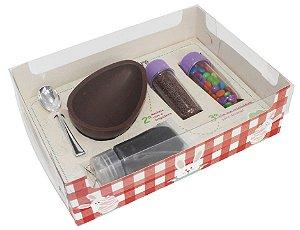 Caixa Kit Confeiteiro Xadrez Vermelho Cód 1479 - Meio Ovo de 150g - 10 unidades - Ideia Embalagens - Rizzo Embalagens