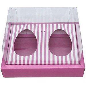 Caixa Ovo de Colher Duplo Com Moldura - Meio Ovo de 100g a 150g - 20x15,5x10cm - Listras Rosa - 5unidades - Assk - Páscoa Rizzo Embalagens