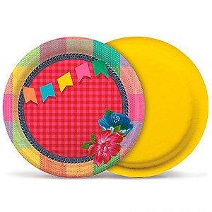 Prato de Papel Balão e Bandeirinhas 18cm Festa Junina - 08 unidades - Cromus - Rizzo Festas