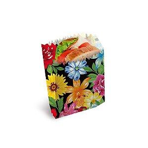 Saquinho para Lanche Floral 10x8x4cm Festa Junina - 50 unidades - Cromus - Rizzo Festas