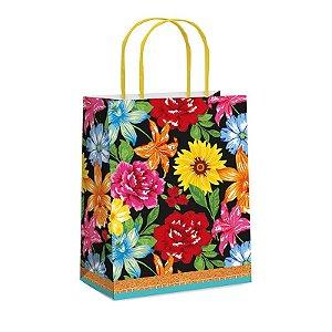 Sacola de Papel Floral P 21,5x15cm Festa Junina - 10 unidades - Cromus - Rizzo Festas