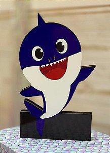 Enfeite de Mesa em Madeira Festa Baby Shark Azul - 1 Unidade - Rizzo Festas