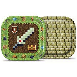 Prato Festa Minecraft 18Cm - 8 unidades - Junco - Rizzo Festas