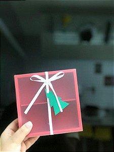 Caixa Pão de Mel Vermelha com 4 divisões  15,5X15,5X5 - A15 - 1 Unidade - Rizzo