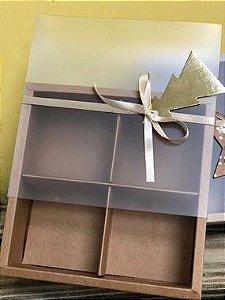 Caixa Pão de Mel Kraft com 4 divisões  15,5X15,5X5 - A15 - 1 Unidade - Rizzo