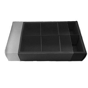 Caixa Pão de Mel Preto 23X15,5X5 com 6 divisões - A11 - 1 Unidade  - Rizzo