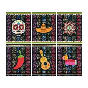 Quadrinhos Decorativos Festa Mexicana - 6 unidades - Junco - Rizzo Festas