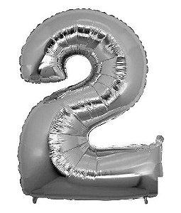 Balão Metalizado Número - 2 - Prata - (40'' Aprox 100cm) - Rizzo Embalagens