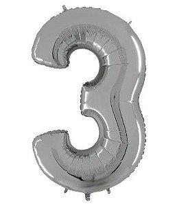 Balão Metalizado Número - 3 - Prata - (40'' Aprox 100cm) - Rizzo Embalagens