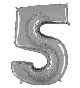 Balão Metalizado Número - 5 - Prata - (40'' Aprox 100cm) - Rizzo Embalagens