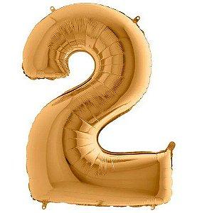 Balão Metalizado Número - 2 - Ouro - (40'' Aprox 100cm) - Rizzo Embalagens