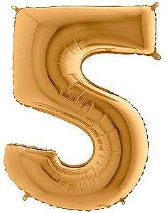 Balão Metalizado Número - 5 - Ouro - (40'' Aprox 100cm) - Rizzo Embalagens