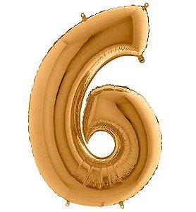 Balão Metalizado Número - 6 - Ouro - (40'' Aprox 100cm) - Rizzo Embalagens