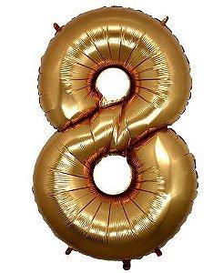 Balão Metalizado Número - 8 - Ouro - (40'' Aprox 100cm) - Rizzo Embalagens