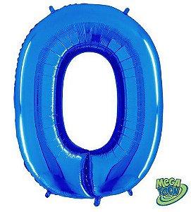 Balão Metalizado Número - 0 - Azul - (40'' Aprox 100cm) - Rizzo Embalagens