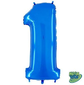 Balão Metalizado Número - 1 - Azul - (40'' Aprox 100cm) - Rizzo Embalagens