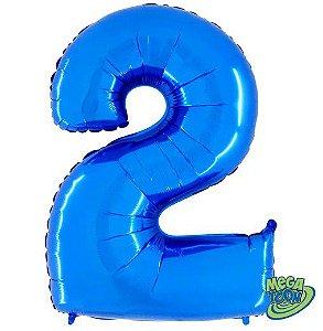 Balão Metalizado Número - 2 - Azul - (40'' Aprox 100cm) - Rizzo Embalagens