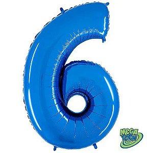 Balão Metalizado Número - 6 - Azul - (40'' Aprox 100cm) - Rizzo Embalagens