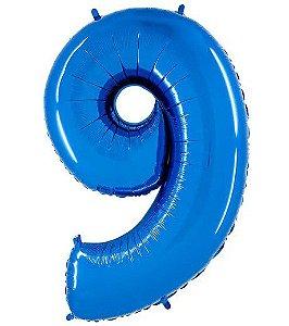 Balão Metalizado Número - 9 - Azul - (40'' Aprox 100cm) - Rizzo Embalagens