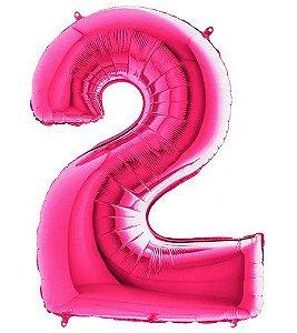 Balão Metalizado Número - 2 - Rosa - (40'' Aprox 100cm) - Rizzo Embalagens