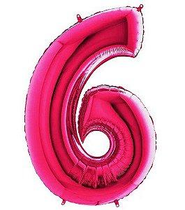 Balão Metalizado Número - 6 - Rosa - (40'' Aprox 100cm) - Rizzo Embalagens