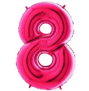 Balão Metalizado Número - 8 - Rosa - (40'' Aprox 100cm) - Rizzo Embalagens