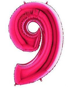 Balão Metalizado Número - 9 - Rosa - (40'' Aprox 100cm) - Rizzo Embalagens