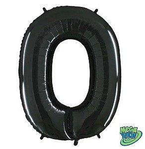 Balão Metalizado Número - 0 - Preto - (40'' Aprox 100cm) - Rizzo Embalagens