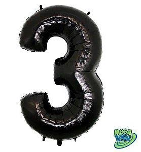Balão Metalizado Número - 3 - Preto - (40'' Aprox 100cm) - Rizzo Embalagens