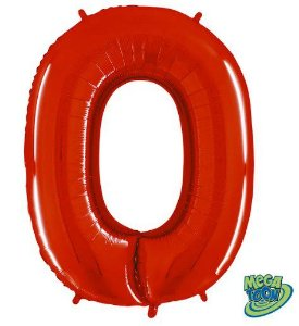 Balão Metalizado Número - 0 - Vermelho - (40'' Aprox 100cm) - Rizzo Embalagens