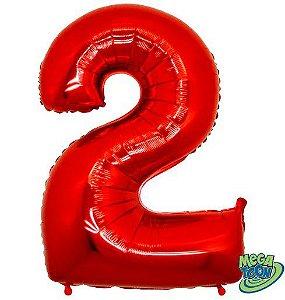 Balão Metalizado Número - 2 - Vermelho - (40'' Aprox 100cm) - Rizzo Embalagens
