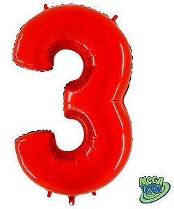 Balão Metalizado Número - 3 - Vermelho - (40'' Aprox 100cm) - Rizzo Embalagens