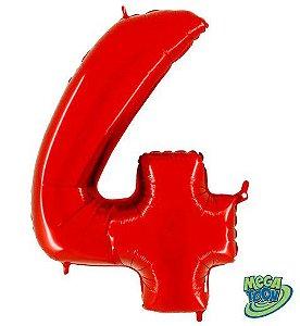 Balão Metalizado Número - 4 - Vermelho - (40'' Aprox 100cm) - Rizzo Embalagens