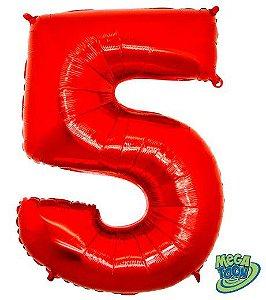 Balão Metalizado Número - 5 - Vermelho - (40'' Aprox 100cm) - Rizzo Embalagens