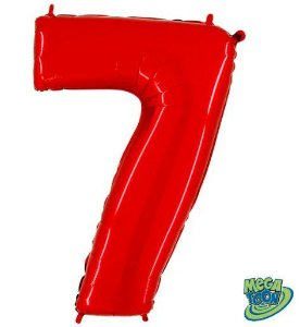 Balão Metalizado Número - 7 - Vermelho - (40'' Aprox 100cm) - Rizzo Embalagens