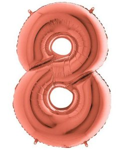 Balão Metalizado Número - 8 - Rosê Gold - (40'' Aprox 100cm) - Rizzo Embalagens