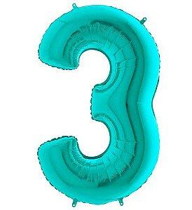 Balão Metalizado Número - 3 - Tiffany - (40'' Aprox 100cm) - Rizzo Embalagens