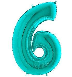 Balão Metalizado Número - 6 - Tiffany - (40'' Aprox 100cm) - Rizzo Embalagens