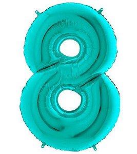 Balão Metalizado Número - 8 - Tiffany - (40'' Aprox 100cm) - Rizzo Embalagens
