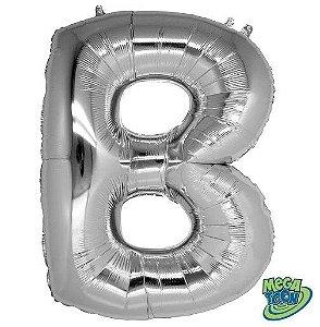 Balão Metalizado Letra - B - Prata - (14'' Aprox 36cm) - Rizzo Embalagens