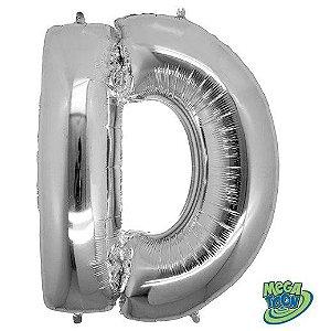 Balão Metalizado Letra - D - Prata - (14'' Aprox 36cm) - Rizzo Embalagens