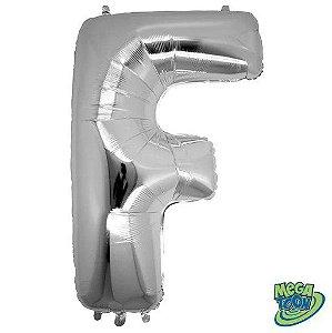 Balão Metalizado Letra - F - Prata - (14'' Aprox 36cm) - Rizzo Embalagens